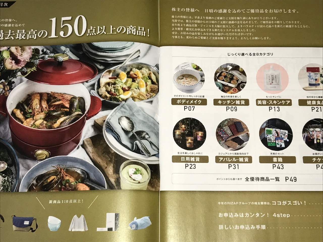 RIZAPグループの株主優待カタログ